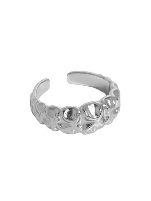 Platinum [15 adjustable] 925 Sterling Silver Irregular Vintage Band Ring